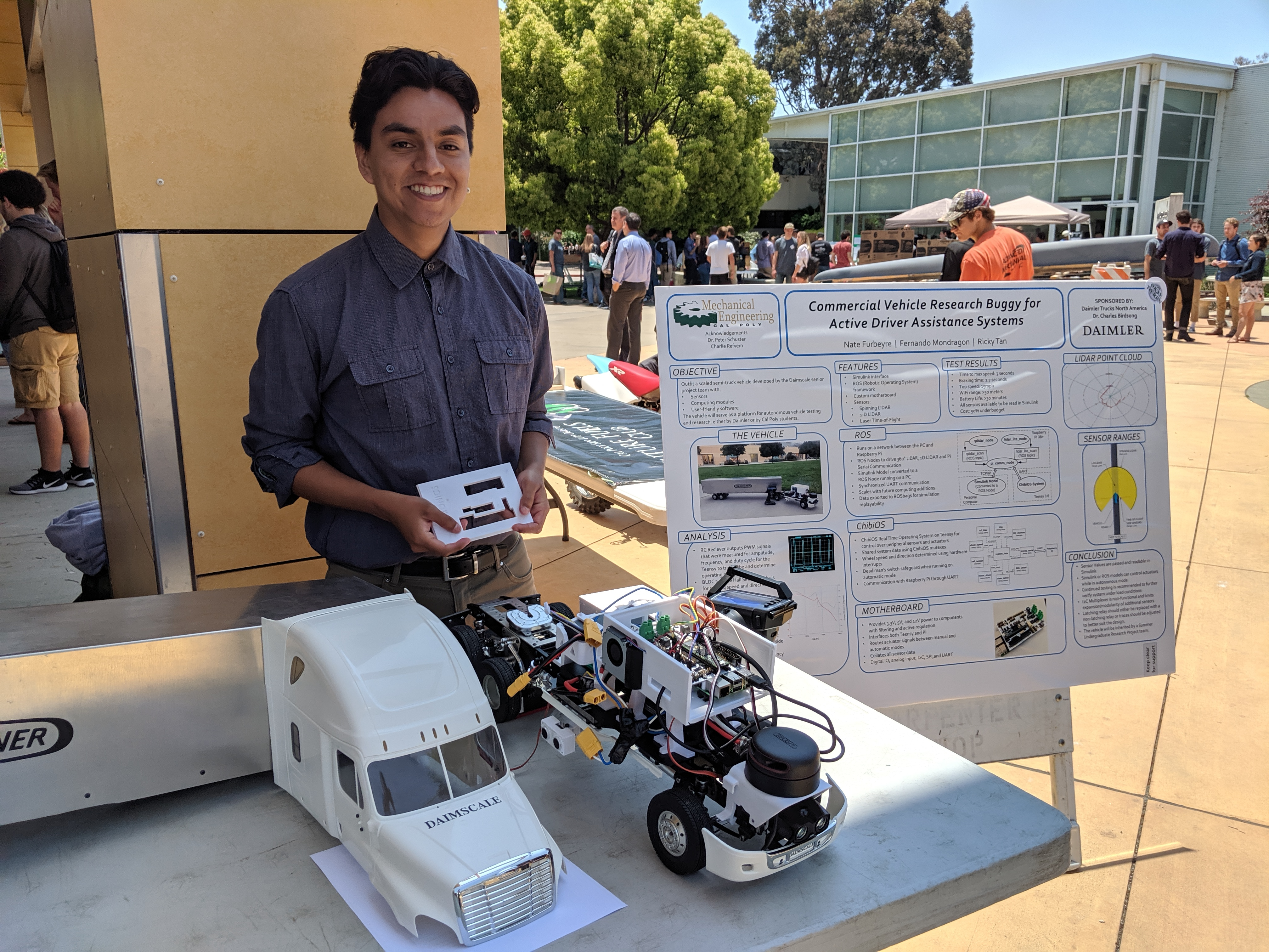 Fernando Mondragon-Cardenas and his senior project team developed a small scale tractor-trailer autonomous vehicle under the guidance of Professor Charles Birdsong.