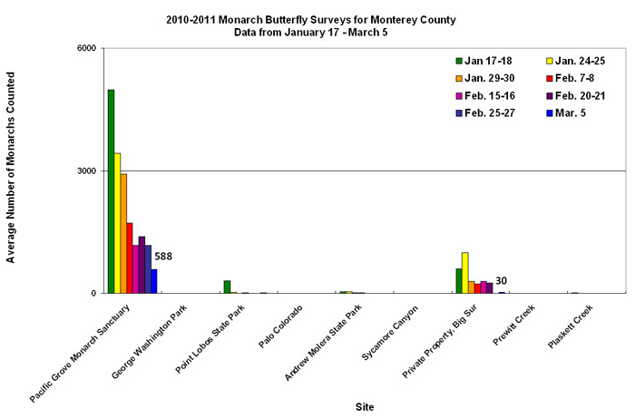 Graph of average number of monarchs counted in Monterey County from 1/17 to 3/5. Highest average in Pacific Grove Monarch Sanctuary, second highest in private property, Big Sur.