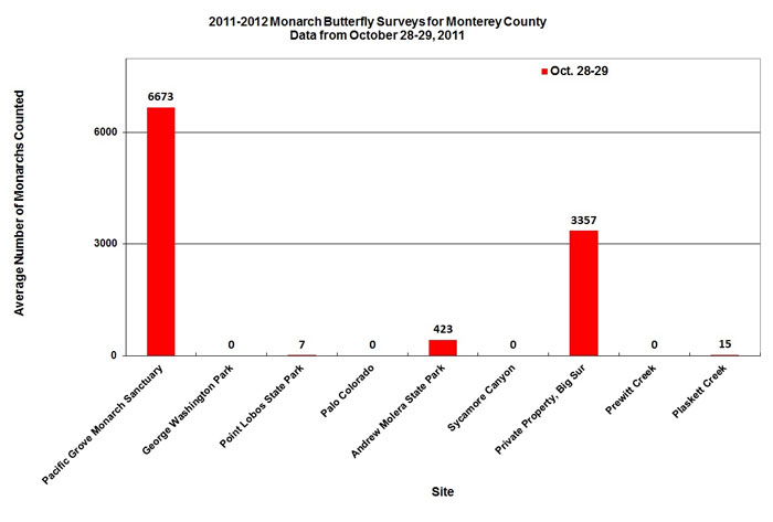 Graph of average number of monarchs counted in Monterey County from 10/28 to 10/29/2011. Highest in Pacific Grove Monarch Sanctuary, second highest in private property, Big Sur.