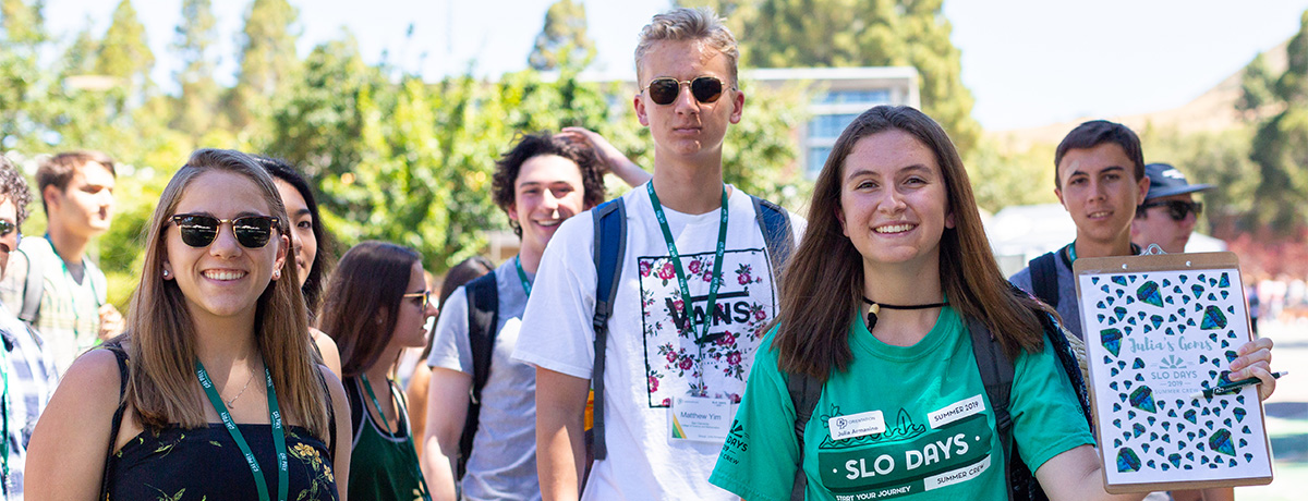 SLO Days Leader with her group walking around campus