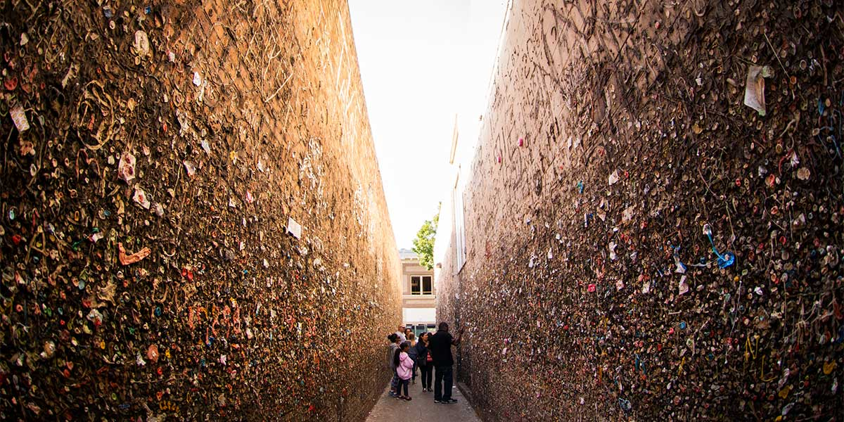 Visitors in Bubblegum Alley in Downtown San Luis Obispo