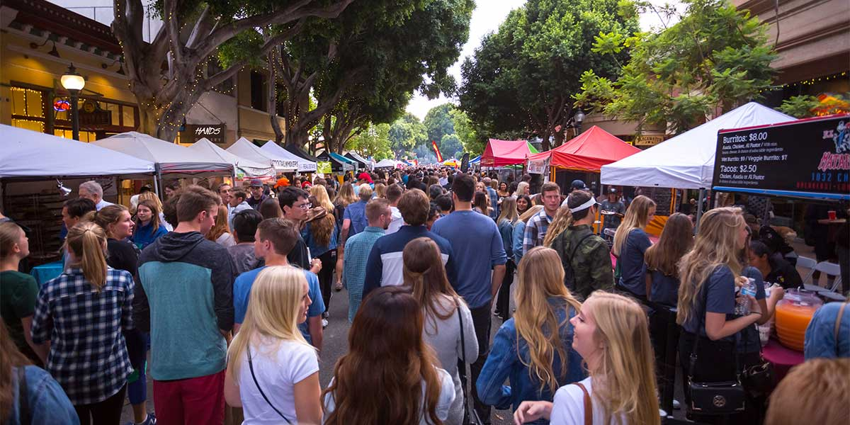 People filling the streets at San Luis Obispo's Farmers' Market