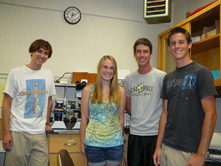 professor and students in lab