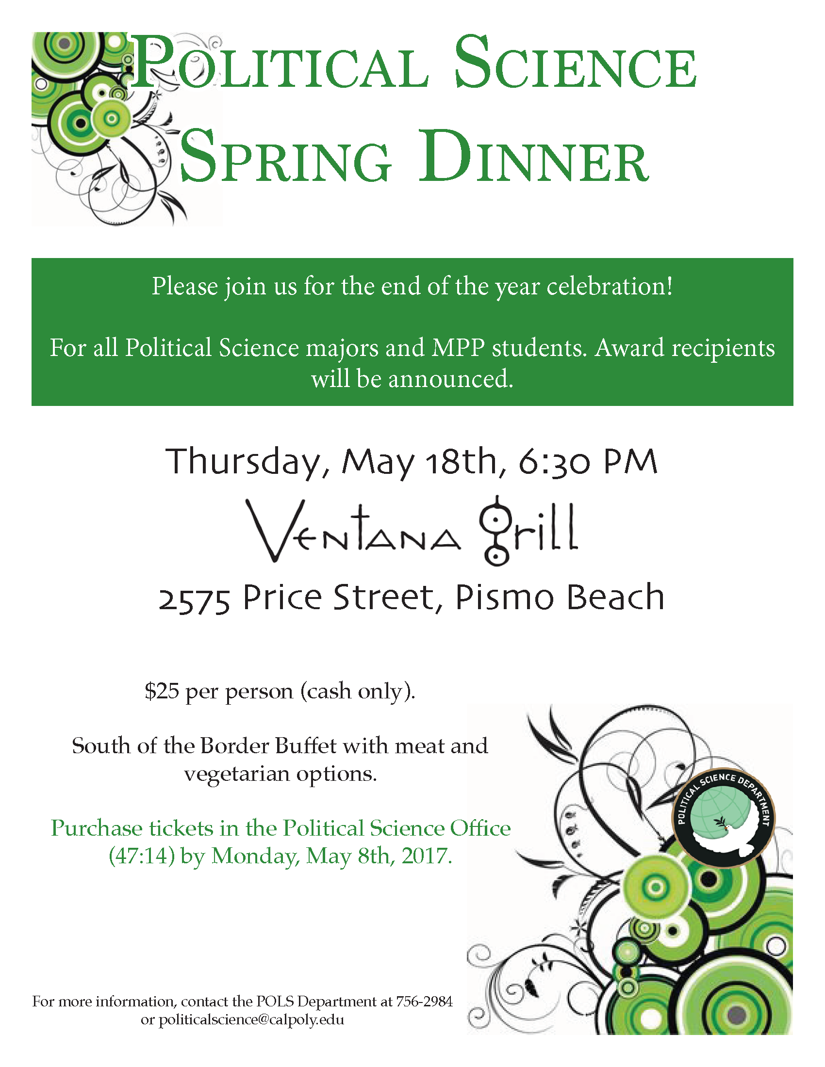 Political Science Spring Dinner 2017 Flyer