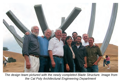 The design team pictured with the newly completed Blade Structure. Image from the Cal Poly Architectural Engineering Department