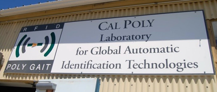 RFID and PolyGAIT Sign on the Outside of the Cal Poly Laboratory for Global Automatic Identification Technologies