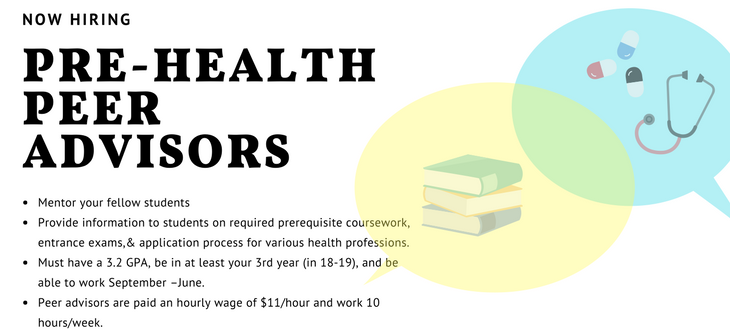 Now Hiring: Mentor your fellow students Provide information to students on required prerequisite coursework, entrance exams,& application process for various health professions. Must have a 3.2 GPA, be in at least your 3rd year (in 18-19), and be able to work September –June. Peer advisors are paid an hourly wage of $11/hour and work 10 hours/week.