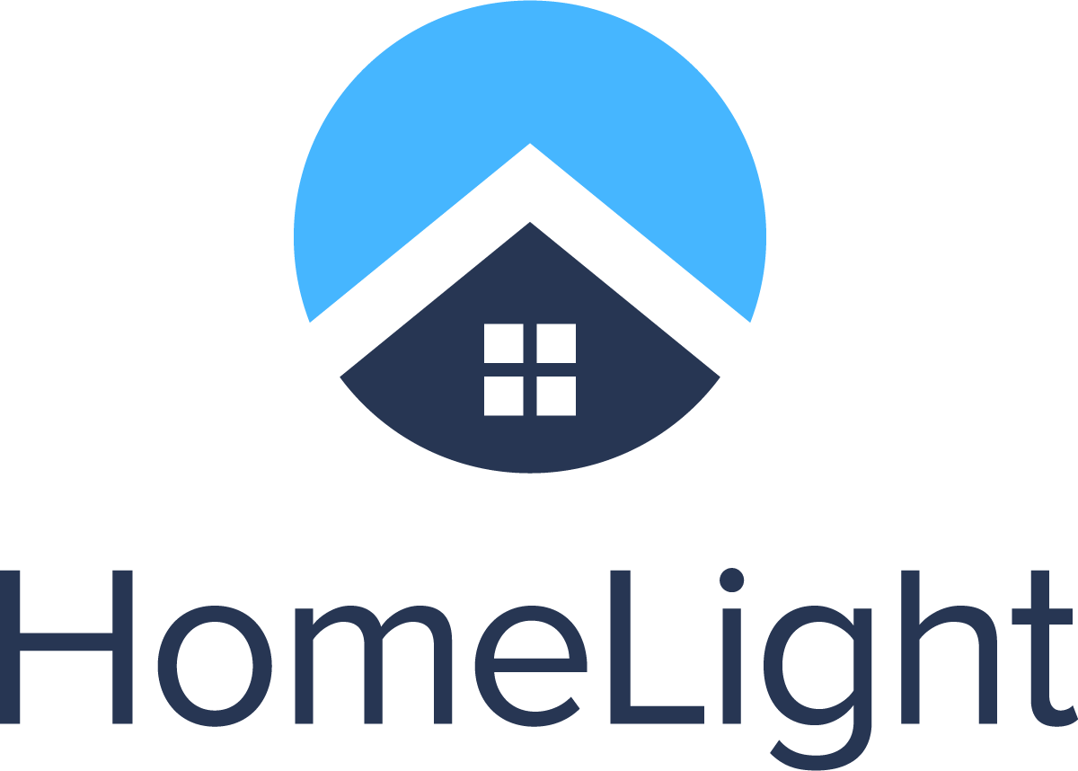 Image of company HomeLight, Circle House roof and parapet in black, with blue background, Words HomeLight off to the Left. Sell Your Home Fast In San Diego