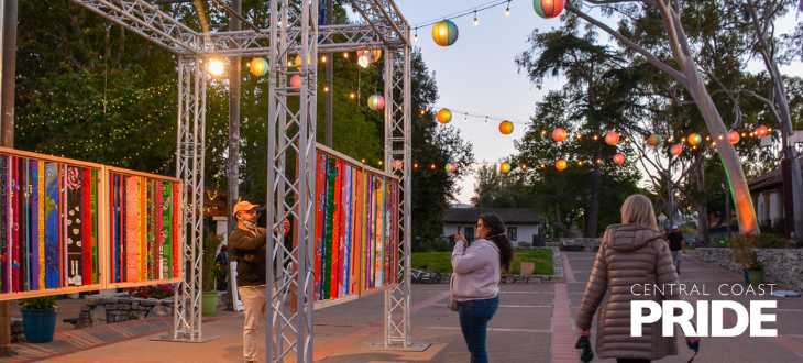 An image of the art installation for Central Coast Pride in Mission Plaza