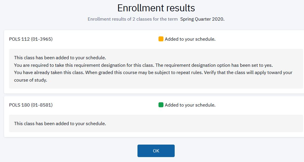 Important messaging appears once the enrollment transaction has been processed.