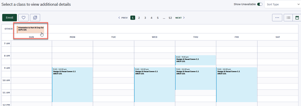 "Select any class in the calendar view of your schedule to ""View"" more information about that class."