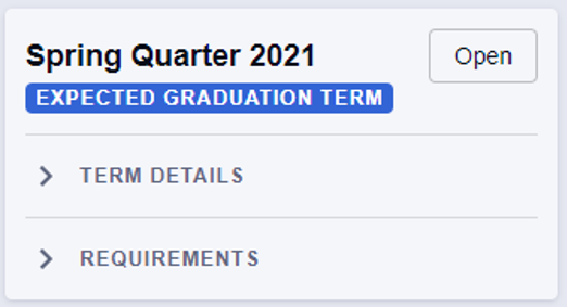 The expected graduation term is designated with a blue box. The blue box can be found directly under the term in which the student is scheduled to complete all degree requirements.