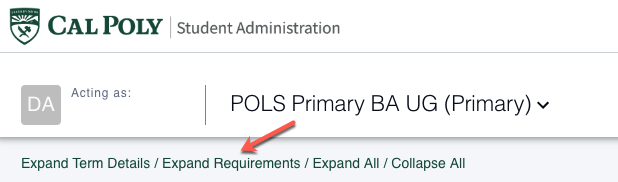 "The ""Expand Requirements"" option can be found at the top of the Degree Planner main page."