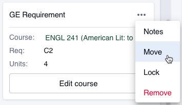 "Select the ""More"" button (three dots) to ""Move"" a course to a different term."