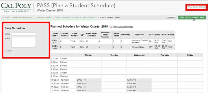 pass class schedule office of the registrar cal poly san luis