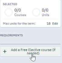 """Once you have """"opened"""" the term, you should see another """"Add a Free Elective course"""" button on the left-hand side of the screen."""
