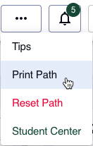 "Click on the ""More"" button (three dots) in the upper right-hand corner to find the ""Print Path"" option."