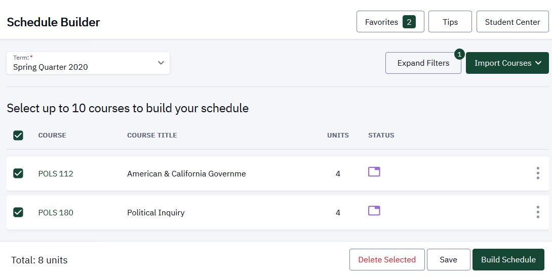 Main Schedule Builder home page that displays selected courses.