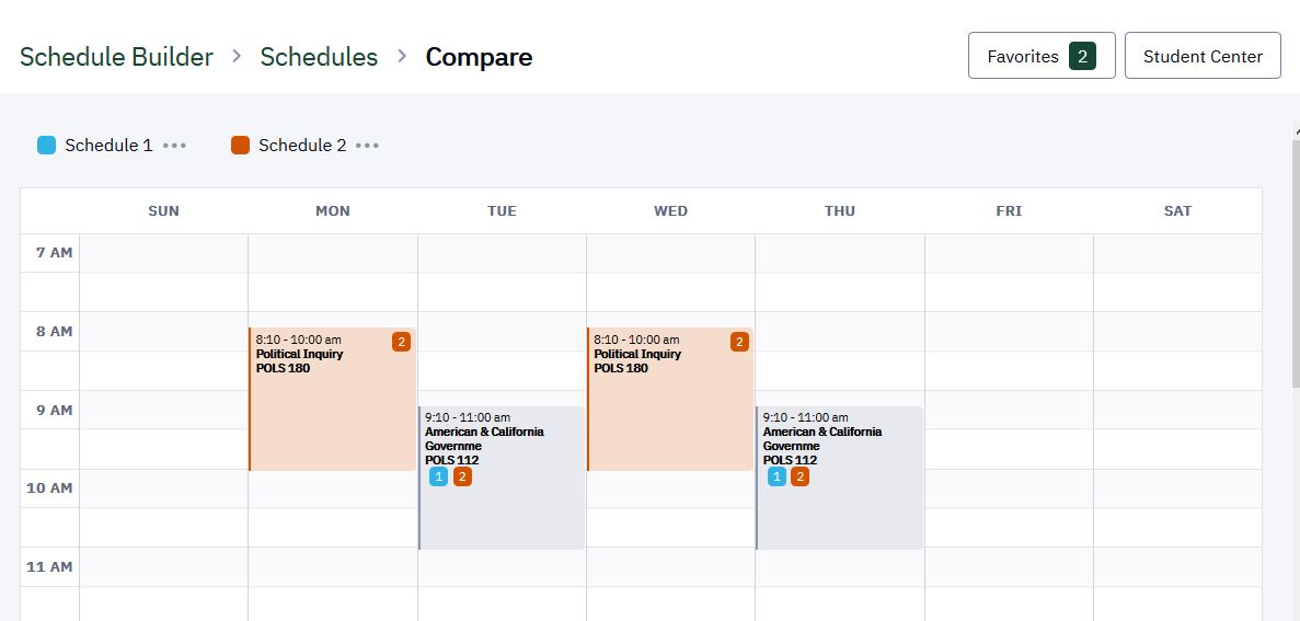 Compare two schedules. Schedules overlap so the user can see key differences.