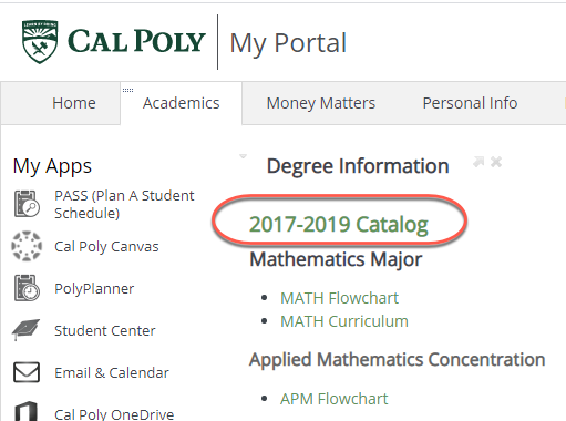 A student's Cal Poly Catalog can be found on the Academics tab of their My Cal Poly Portal.