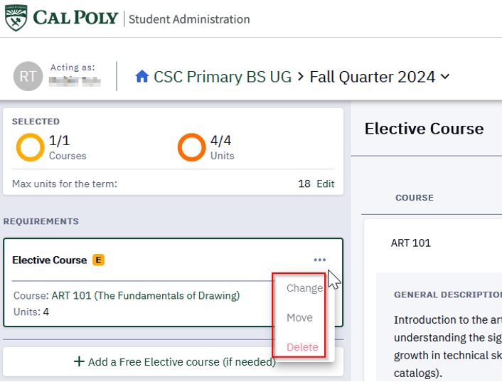 The current bug is preventing students from moving or changing elective courses in a term. The options are grayed out and cannot be selected.