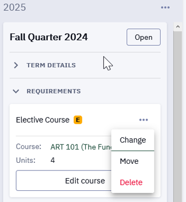 On the landing page of your Degree Planner, commands are not grayed out and can be selected.