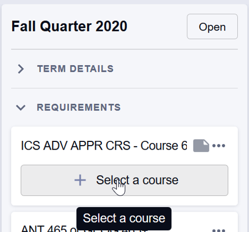"ICS course requirements appear with gray ""Select a course"" boxes."
