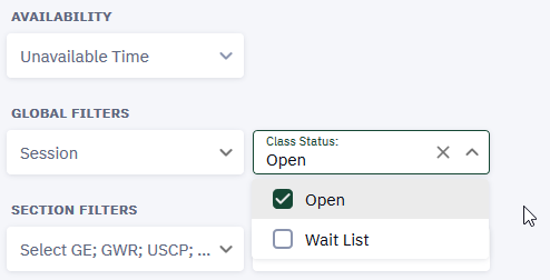 "The ""Open"" Class Status filter will only display open courses in the search results."