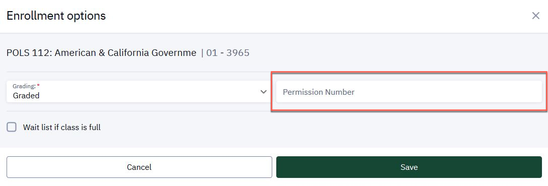 Permission Number box in Enrollment options window.