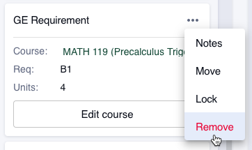"Select the ""More"" button (three dots) and choose ""Remove"" to move a course to Unplanned Requirements."