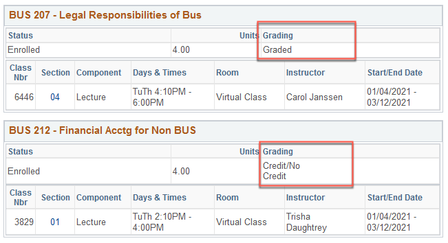 "The grading basis selection can be found in the ""Grading"" section of the class listing."