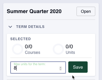 All summer terms are automatically set to zero (0) units. Increasing the unit maximum will prompt the system to add courses.