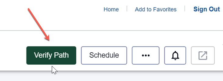 "The green ""Verify Path"" button can be found in the upper right-hand corner of the main Degree Planner page."