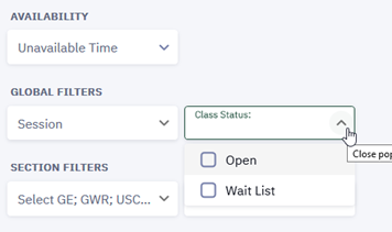 "Students should select ""Open"" and ""Wait List"" to view both open courses and courses that have formed a wait list."