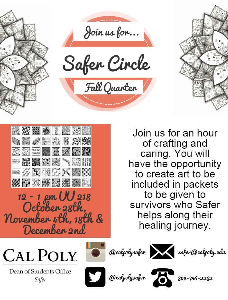Join us for Safer Circle this fall Quarter. Join us for an hour of crafting and caring. You will have the opportunity to create art to be included in packets to be given to survivors who Safer helps along their healing journey. October 28th, November 4th, 18th & December 2nd. UU 218, 12-1pm