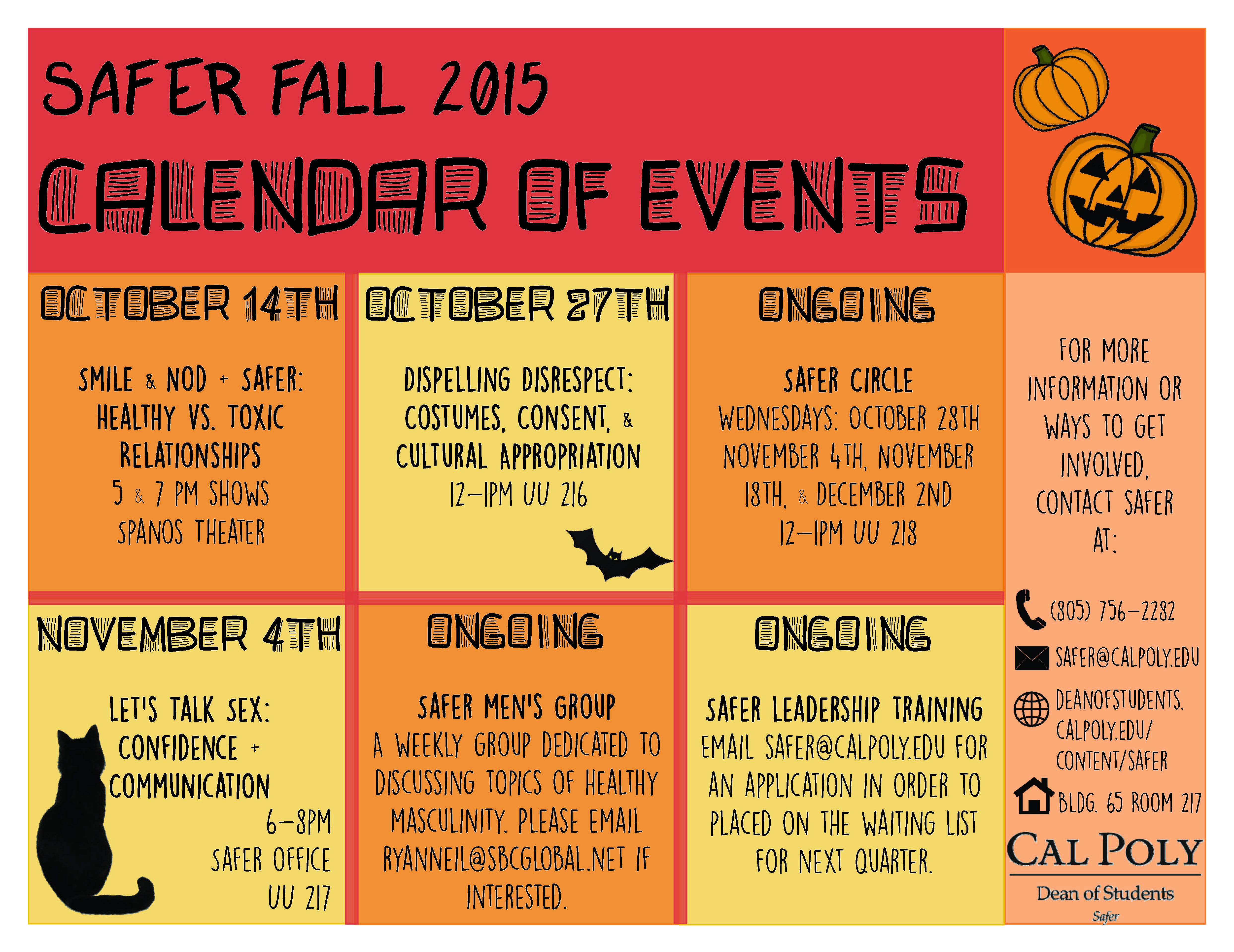 Safer Fall 2015, Calendar Of Events. Dates listed below.
