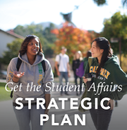 "Students walking. ""Get the Student Affairs Strategic Plan."""