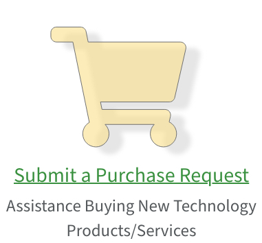 Yellow shopping cart. Link to submit a purchase request.