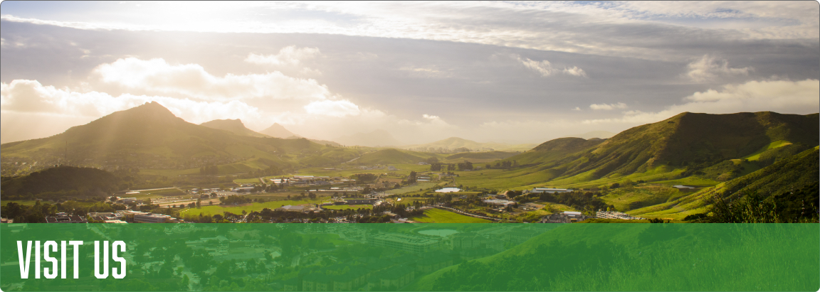 Banner that depicts the Cal Poly campus on a bright, sunny day.
