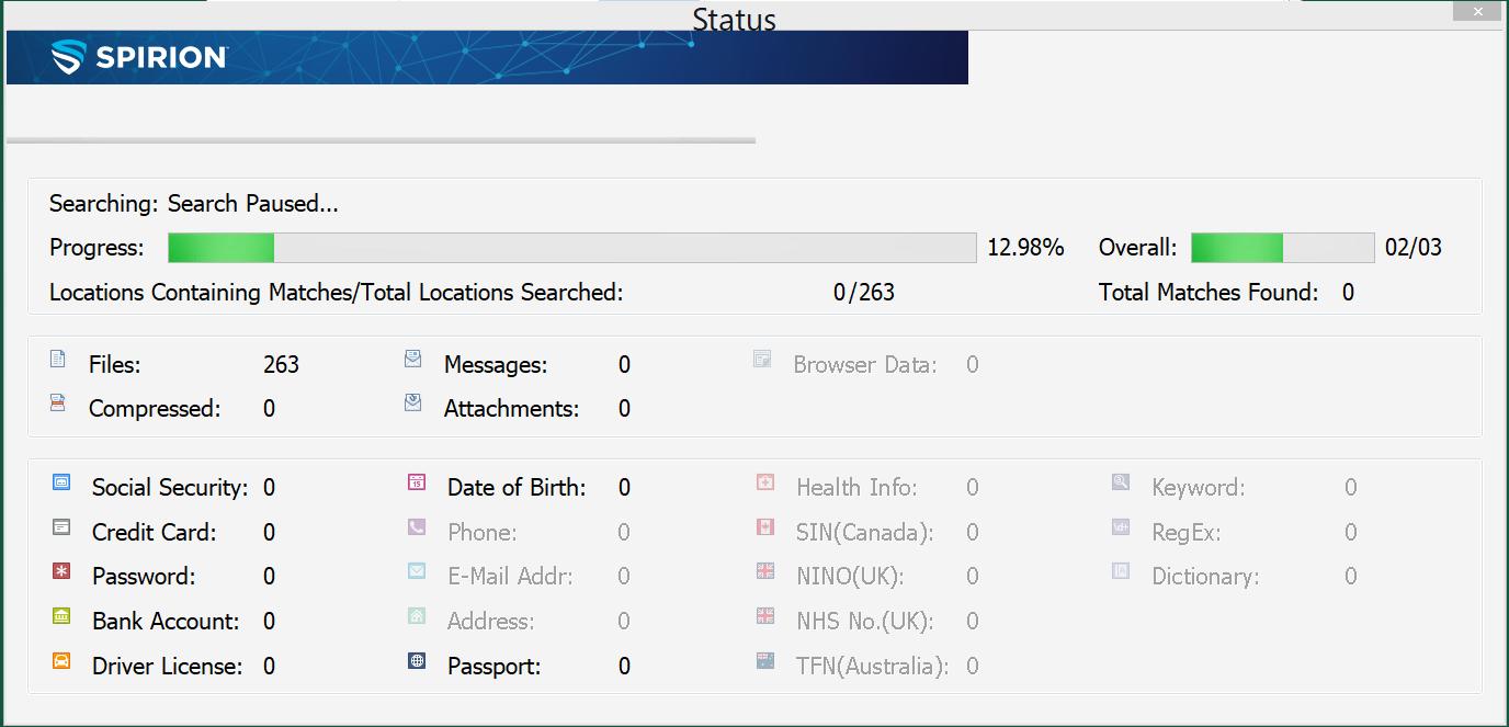 Spirion - Searching for Sensitive Data - Information