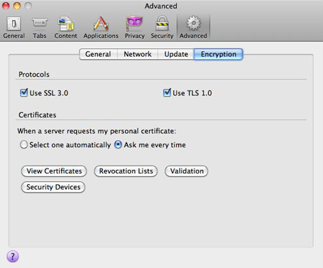 Click Encryption then, View Certifiates.