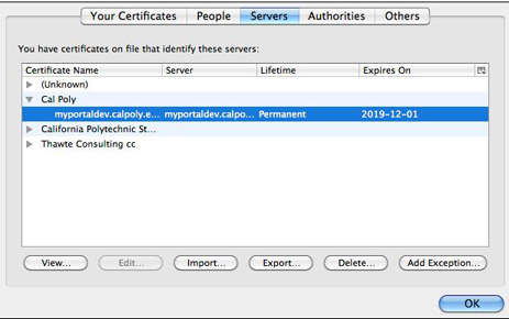 Highlight the server certificate and select delete.