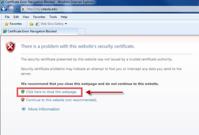 Internet Explorer Certificate Untrusted