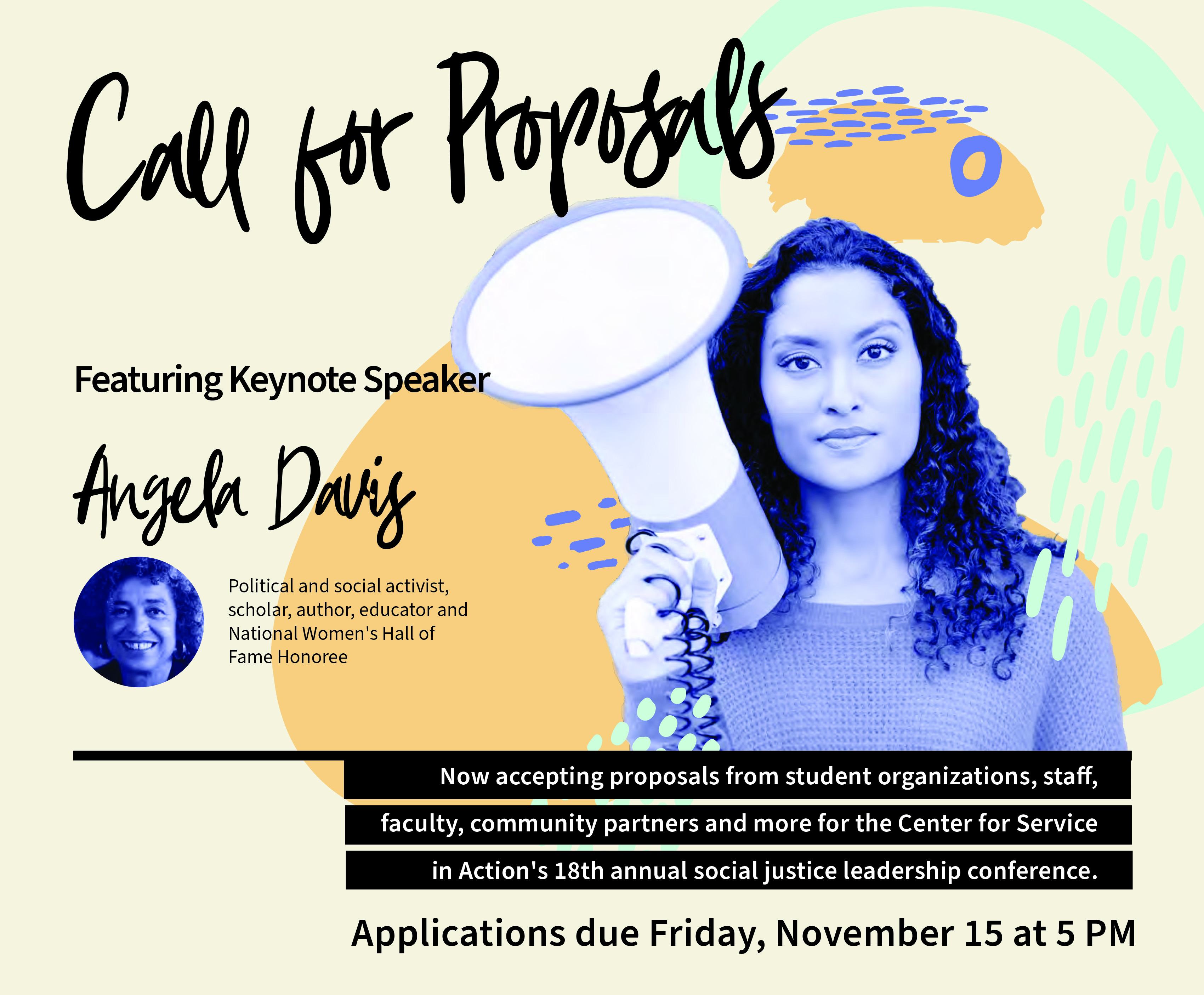 Change the Status Quo Call for Proposals Poster Image featuring Keynote Speaker Angela Davis