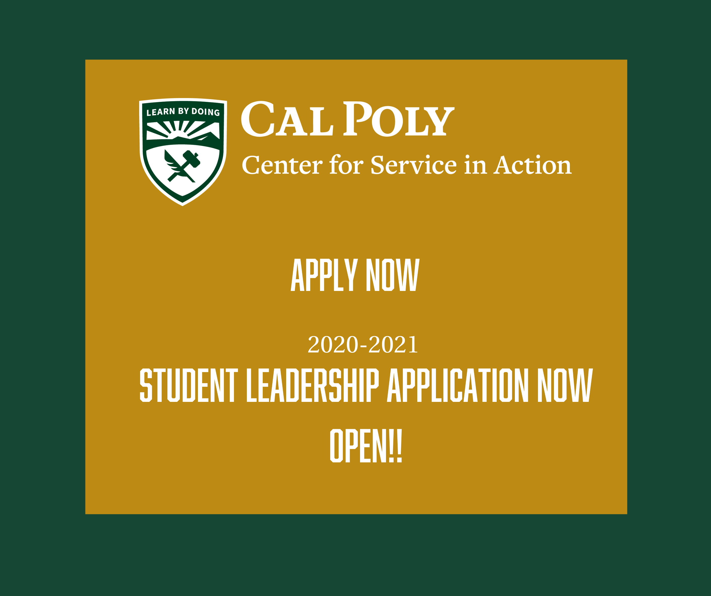 Apply Now 2020-2021 Student Leadership application now open!!