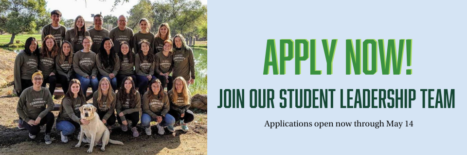 Join the Center for Service in Action Student Leadership Team - Apply Now - Applications open through May 14