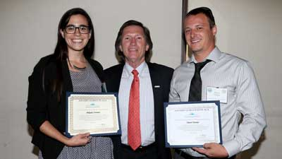 CSU Research Competition Finalists Mikaela Vournas (right) and Trevor Towner (left)