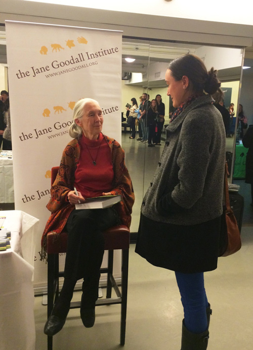 Anthropology and Geography graduate Emily Neavitt chatting with Jane Goodall in New York City, January 2014.