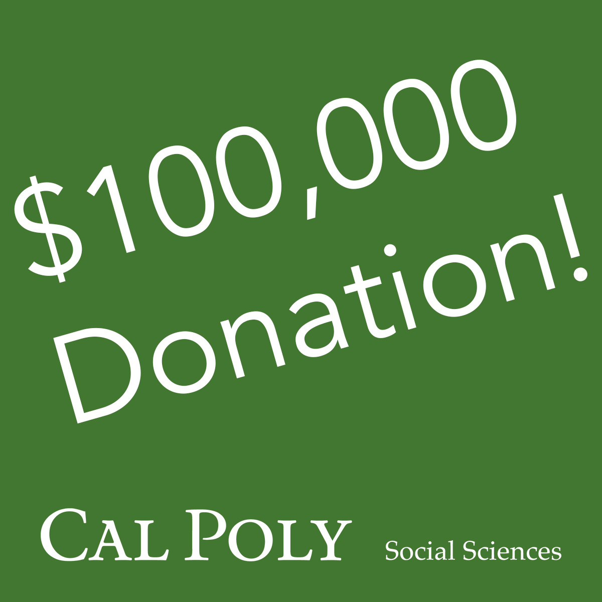 $100,000 Donation to Social Science Department