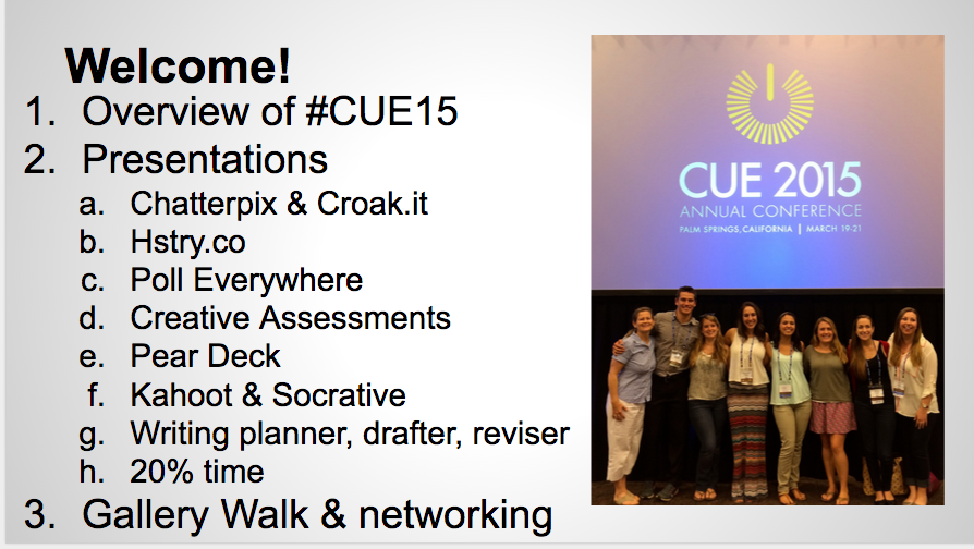 Google Slide of CUE15 conference attendees